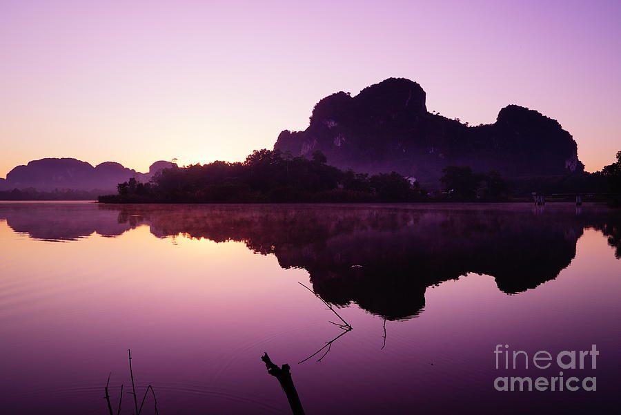 Sky Photograph - Title  The Peaceful Mountain by Pk Kaew