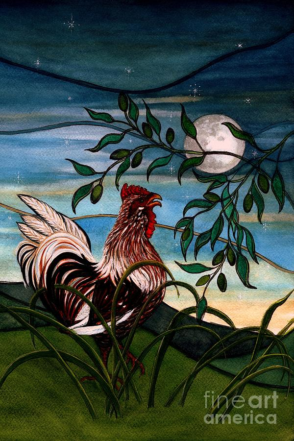 To greet the morning light - Rooster by Janine Riley