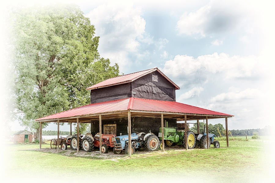 Tobacco Barn and Tractors #1919 by Susan Yerry