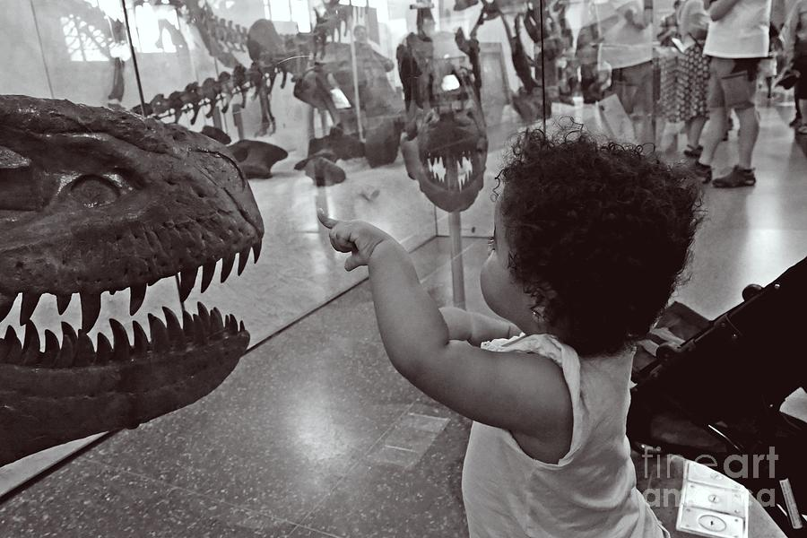 Toddler And Dinosaur Photograph