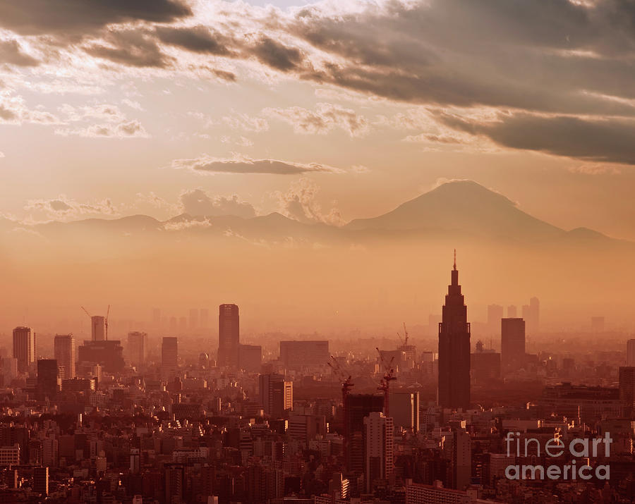 Tokyo Photograph - Tokyo And Mount Fuji by Delphimages Photo Creations