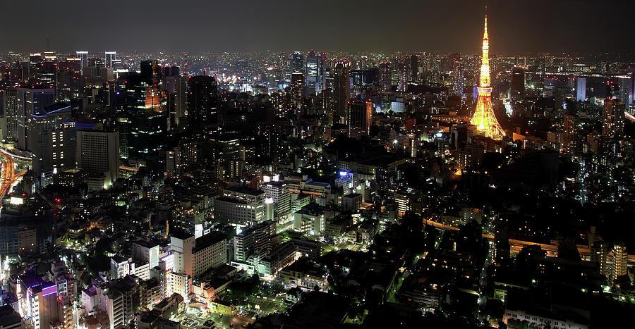 Tokyo By Night Skyline, Japan Photograph by Fototrav