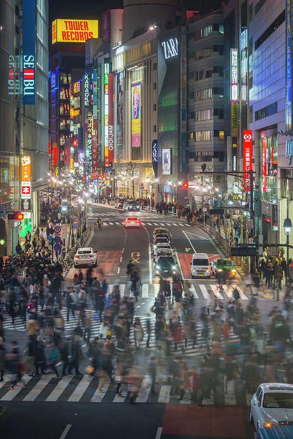 Tokyo Shibuya Crossing Crowds Of People Photograph by Fotovoyager