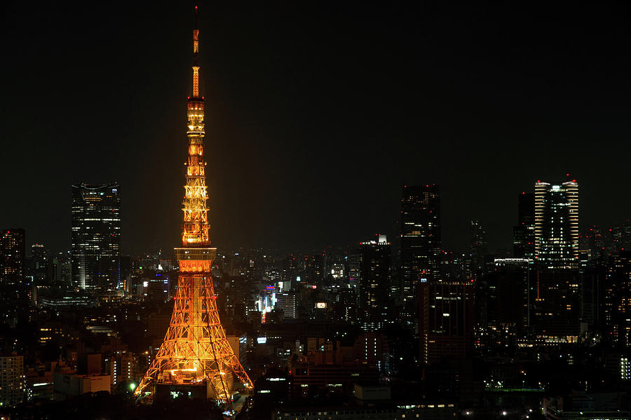 Light Up Tokyo Tower Sunset Canvas Wall Art Picture Print