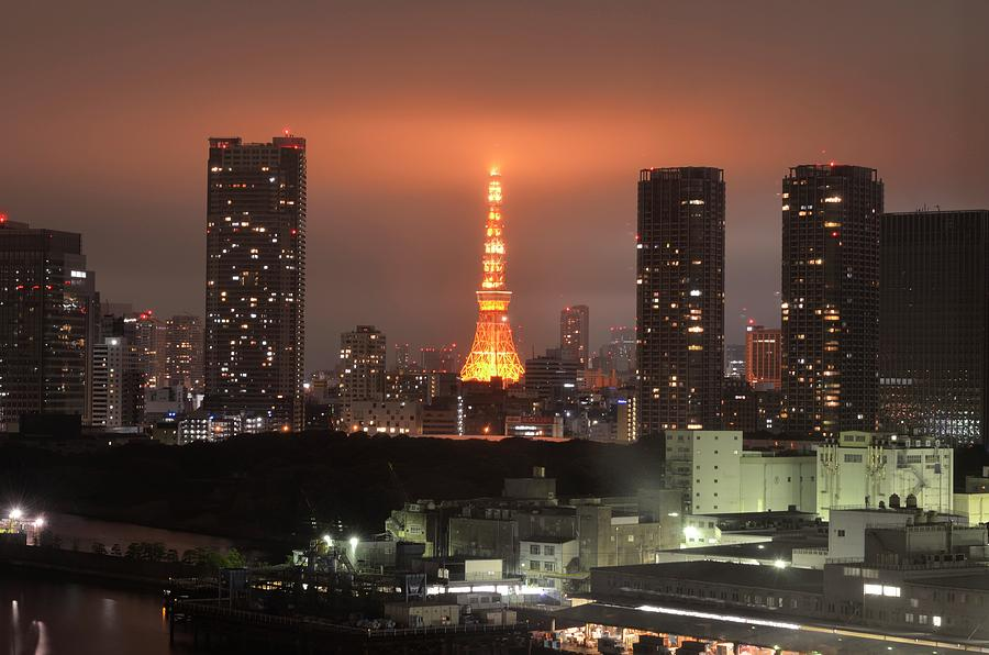 Tokyo Tower With Cloud Photograph by Keiko Iwabuchi