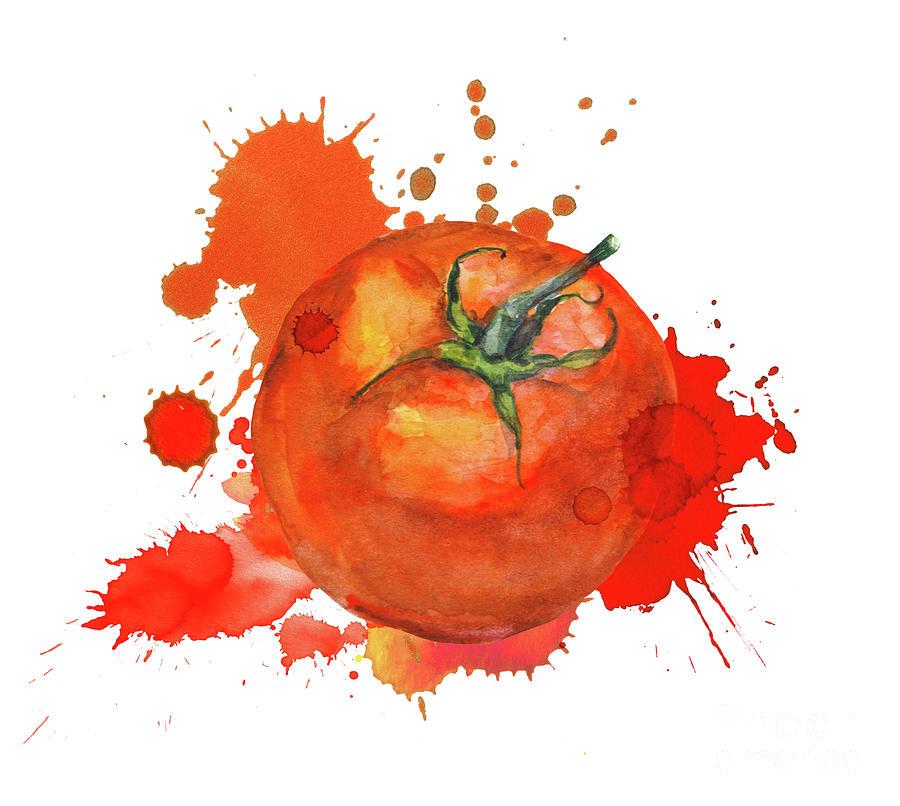 Tomato With Splash For Tomatina Digital Art by Zzorik