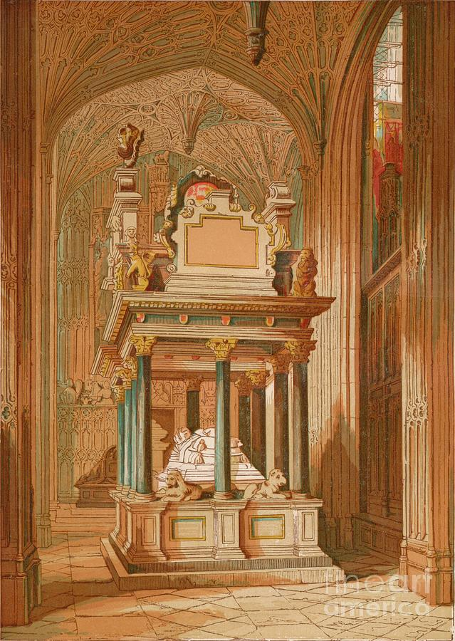 Tomb Of Queen Elizabeth. - Westminster Drawing by Print Collector