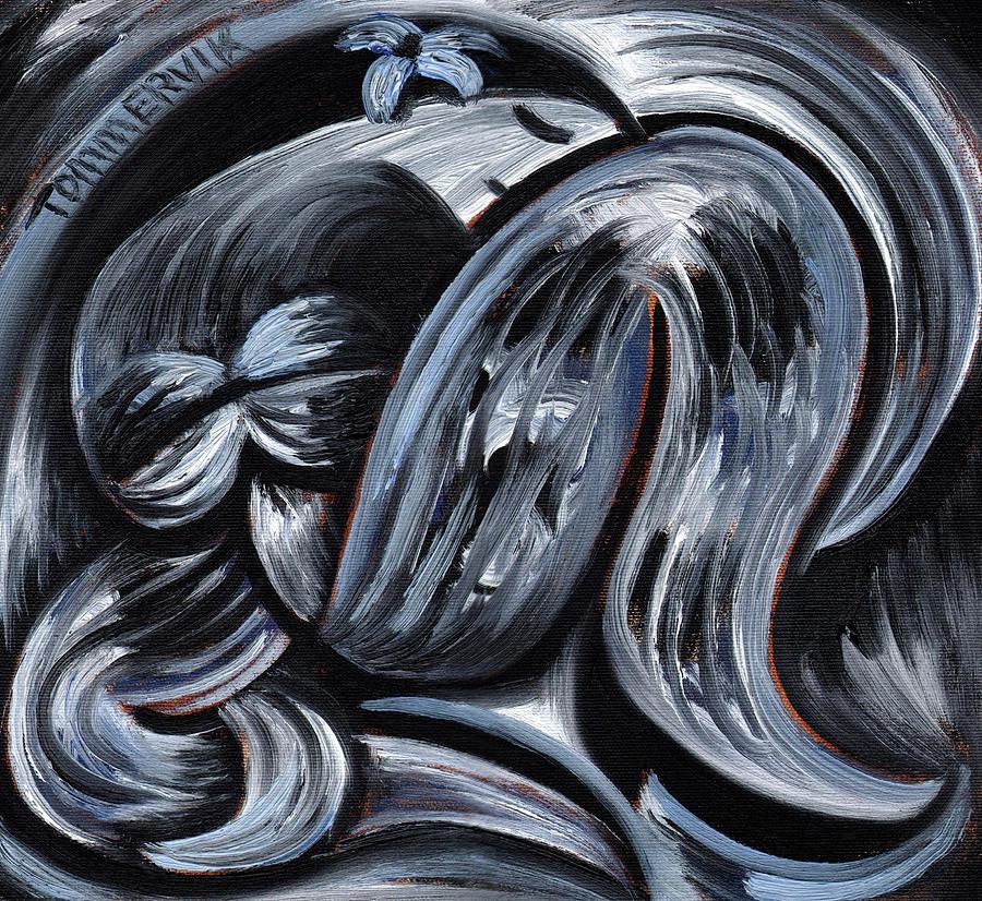 Hawaiian Painting - Tommervik Blue Exotic Hawaiiian Woman Art Print by Tommervik