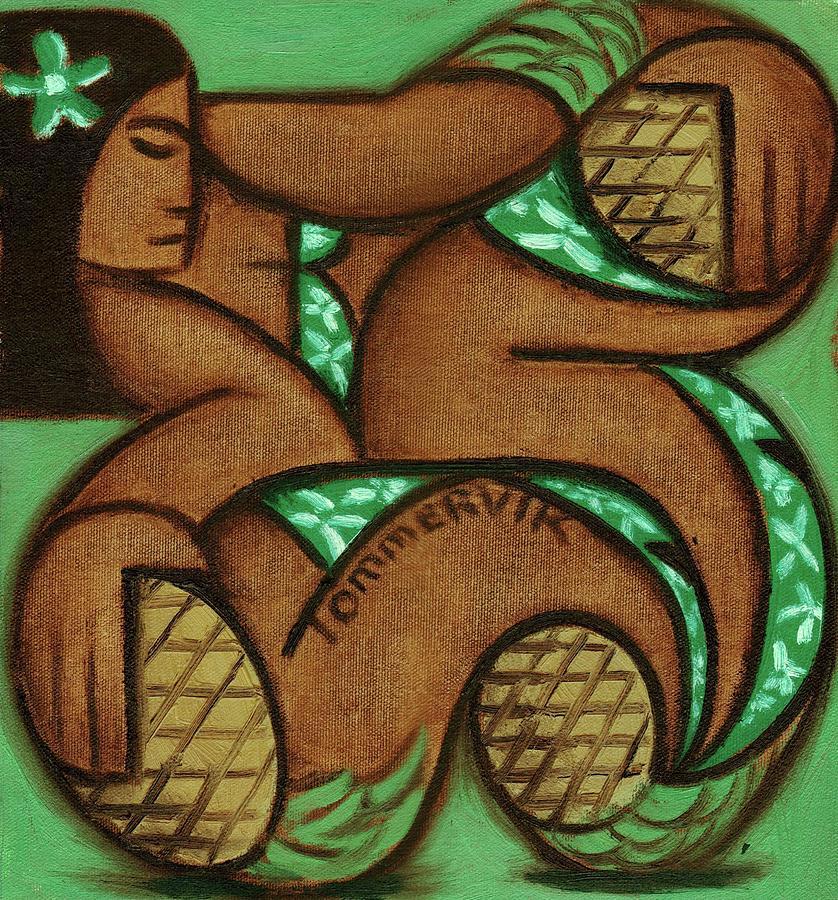 Tommervik Tommrvik Hawaiian Woman Pineapple Art Print by Tommervik