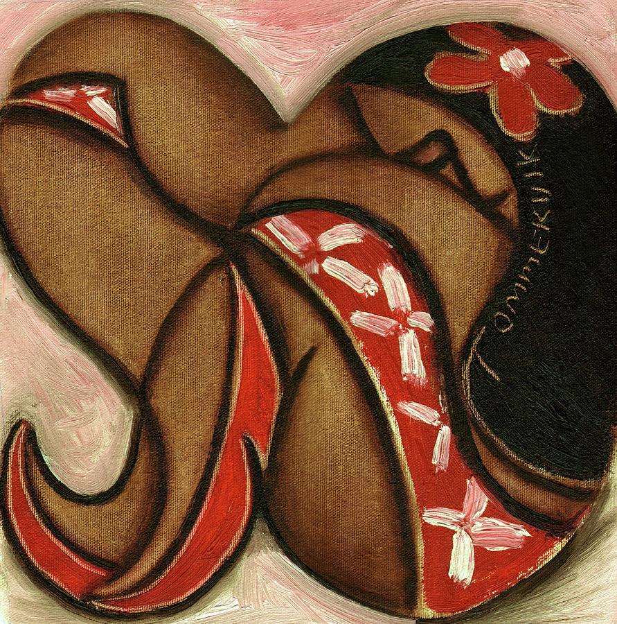 Hawaiian Painting - Tommervik Woman in Red Hawaiian Flower Dress Art Print by Tommervik