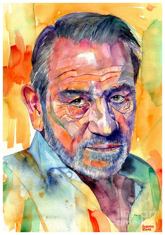 Tommy Painting - Tommy Lee Jones Watercolor by Suzann Sines