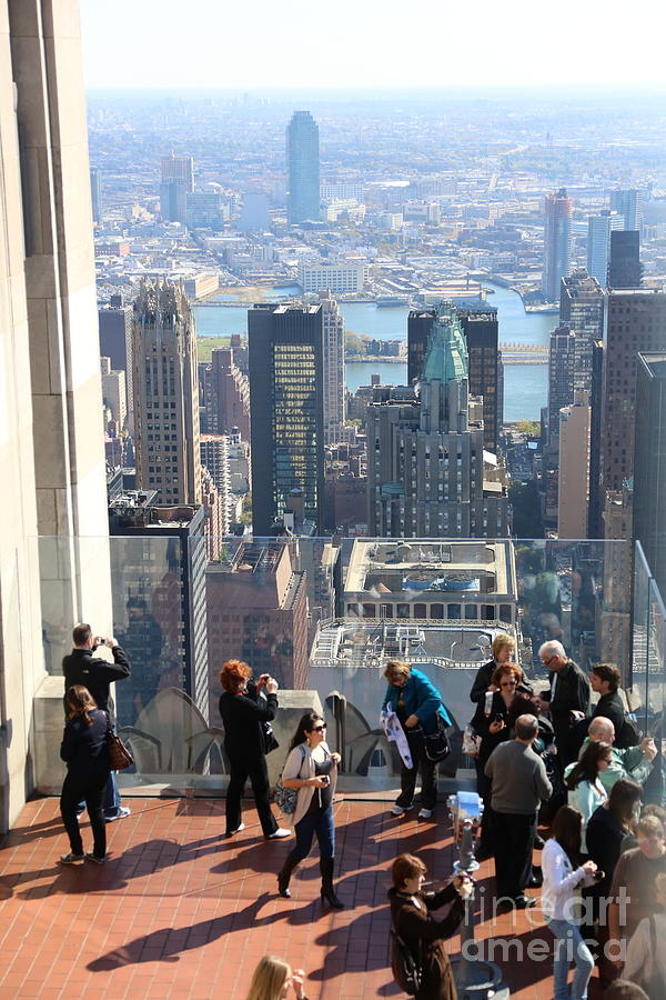 Top of the Rock NYC Crowds View  by Chuck Kuhn