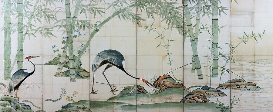 Ogata Korin Digital Art - Top Quality Art - Cranes Pines And Bamboo by Ogata Korin