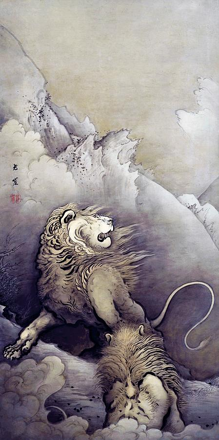 Lions Painting - Top Quality Art - Lion by Kano Hogai