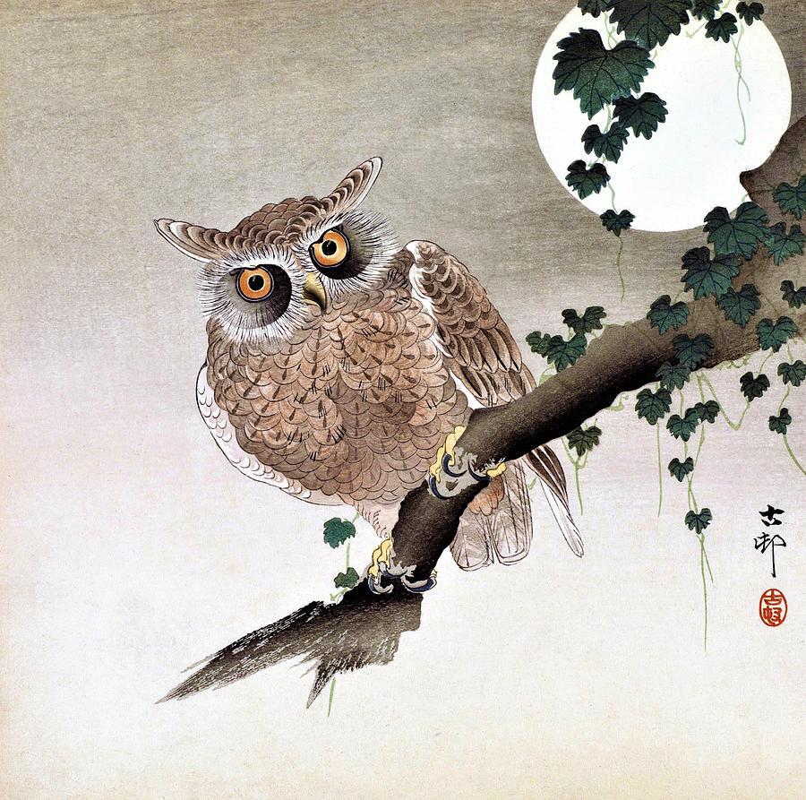 Ohara Painting - Top Quality Art - Moon And Owl by Ohara Koson