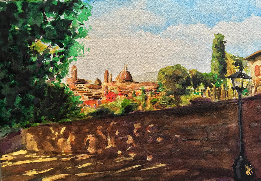 Florence Painting - Top view of Florence by Monika Arturi