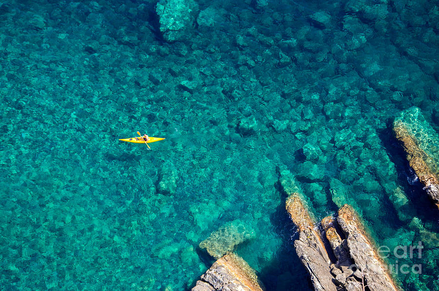Canoe Photograph - Top View Of Kayak Boat Oin Shallow by Mikhail Varentsov