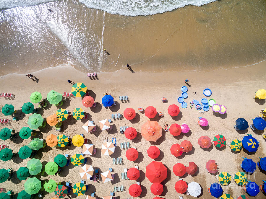 Joao Photograph - Top View Of Umbrellas In A Beach by Gustavo Frazao