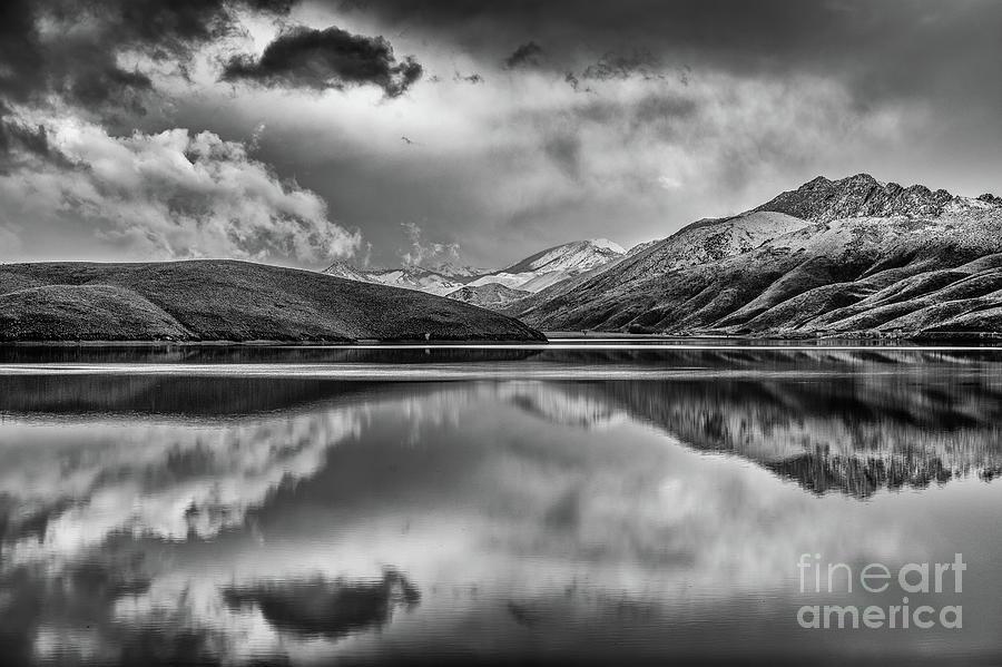 Topaz Lake Photograph - Topaz Lake Winter Reflection, Black And White by Jeff Sullivan