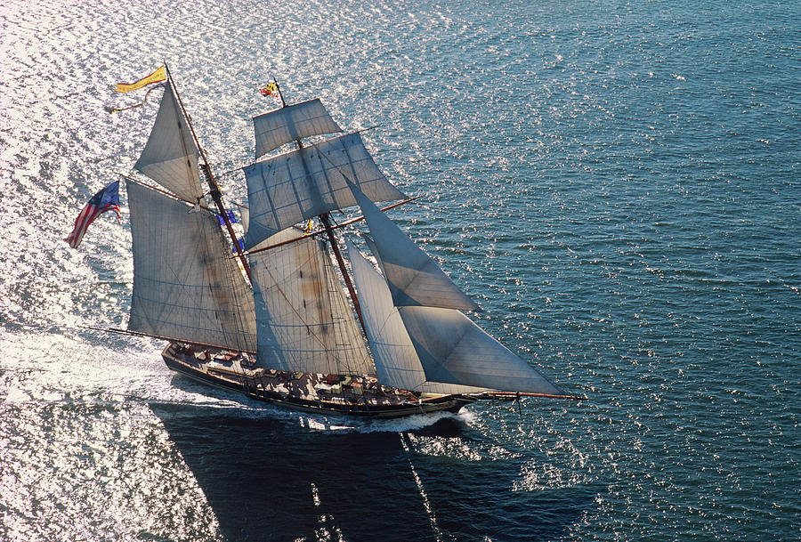 Topsail Schooner Under Full Sail Photograph by Greg Pease