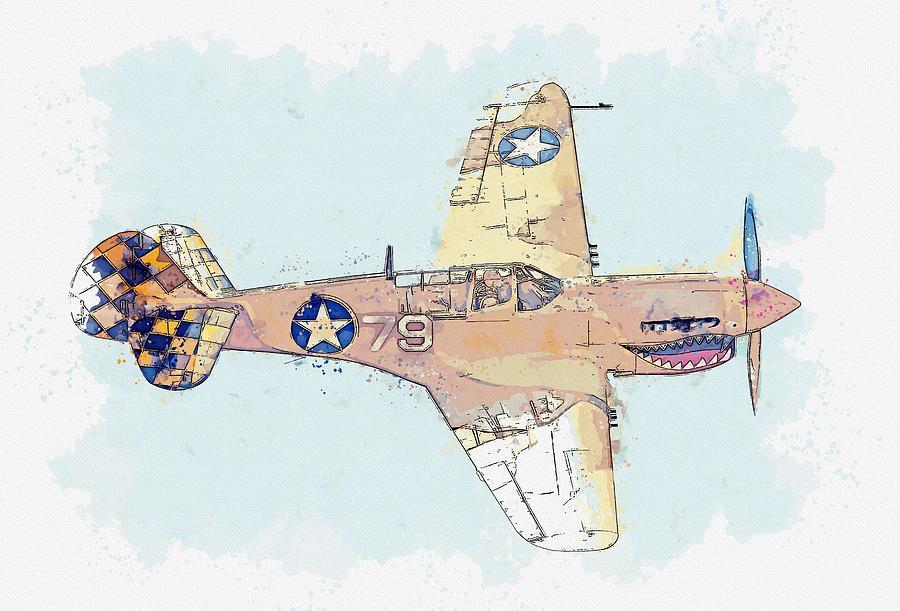 Topside of the Desert Warhawk Aircraft watercolor by Ahmet Asar by Ahmet Asar