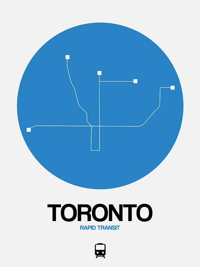 Vacation Digital Art - Toronto Blue Subway Map by Naxart Studio