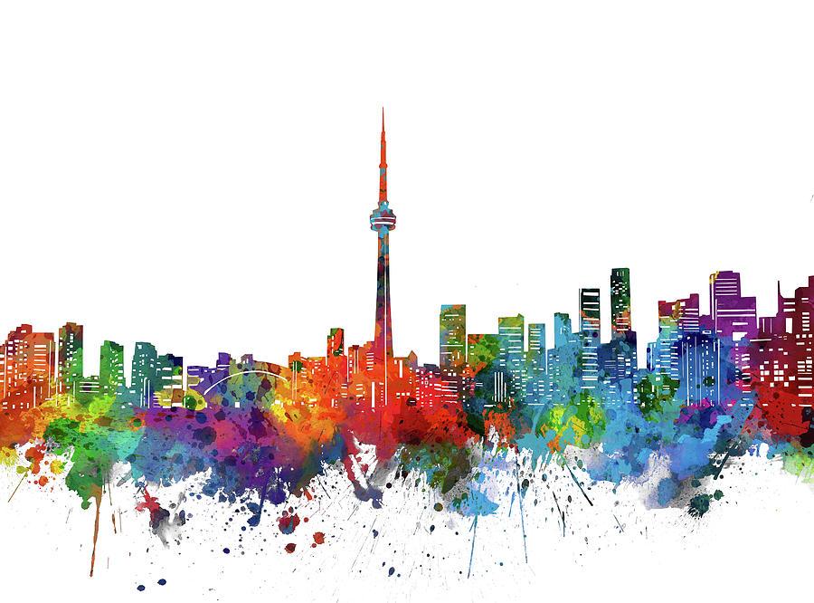 Toronto City Skyline Watercolor Digital Art