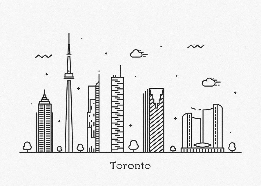 Toronto Cityscape Travel Poster by Inspirowl Design