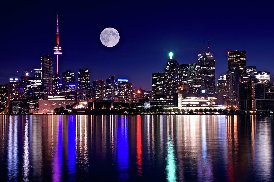 Toronto Photograph - Toronto Full Moon Night by Frozen in Time Fine Art Photography