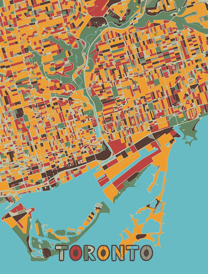 Toronto Map Retro Digital Art