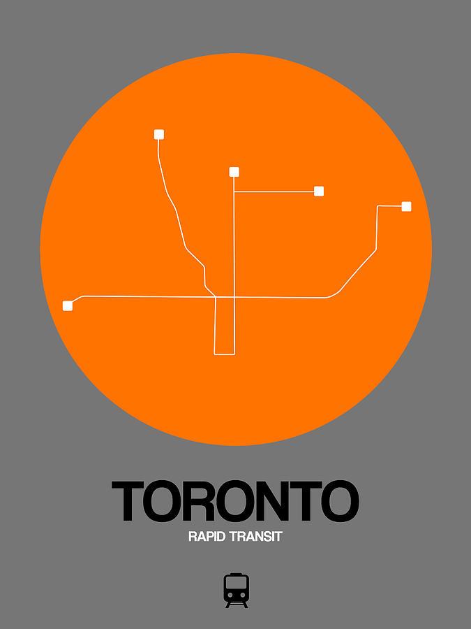 Vacation Digital Art - Toronto Orange Subway Map by Naxart Studio