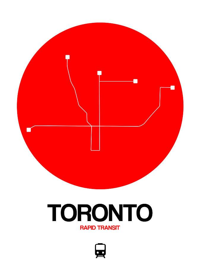 Vacation Digital Art - Toronto Red Subway Map by Naxart Studio