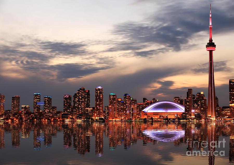 Office Photograph - Toronto Skyline At Sunset Ontario by Inga Locmele