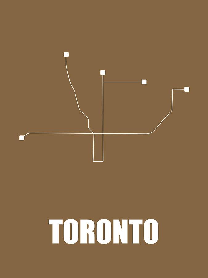 Toronto Digital Art - Toronto Subway Map 2 by Naxart Studio