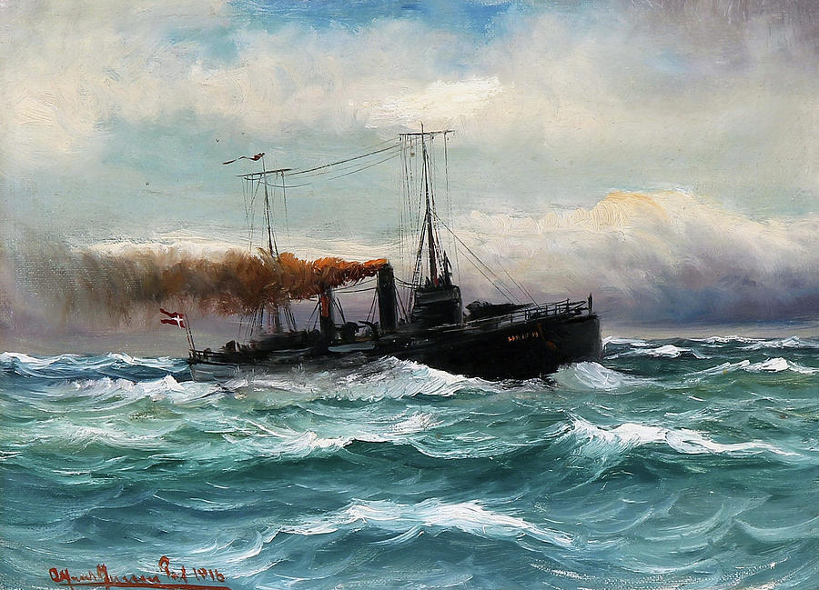 Torpedo Boat in Rough Sea by Alfred Jensen