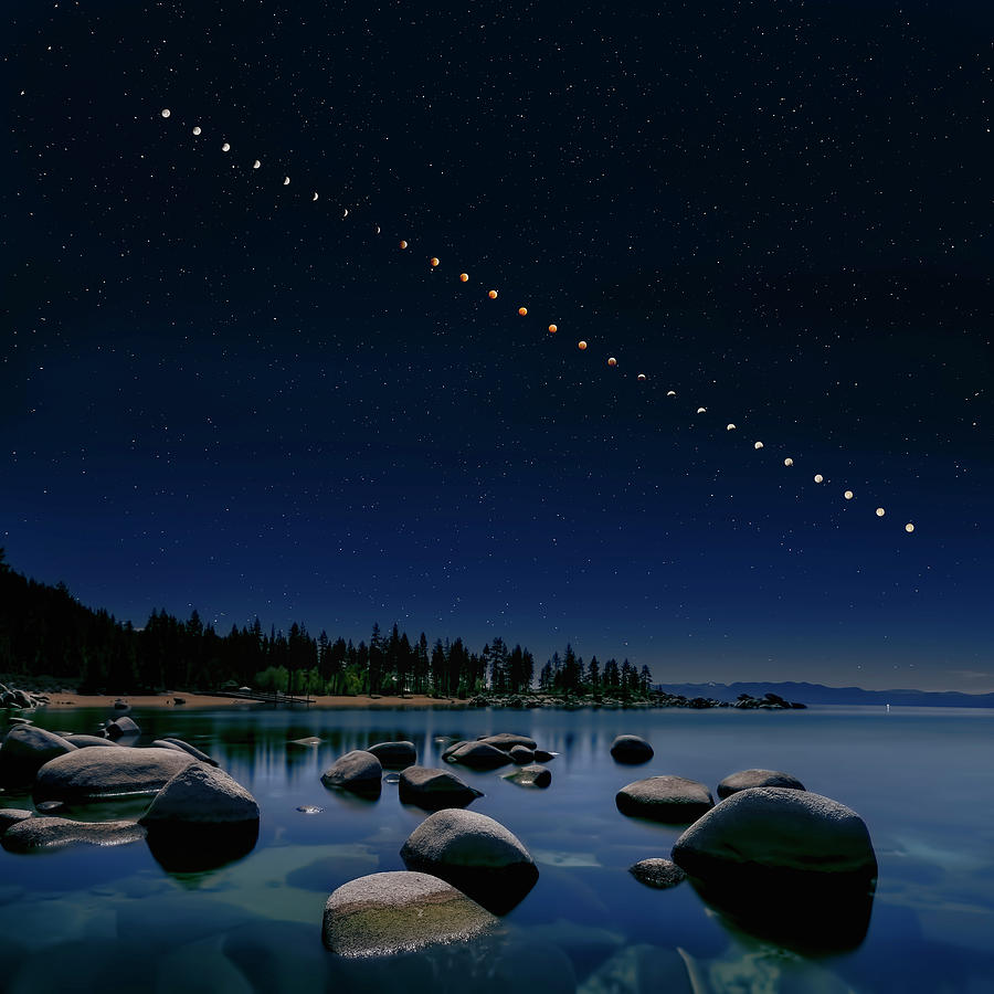 Lake Photograph - Total Lunar Eclipse by Hua Zhu