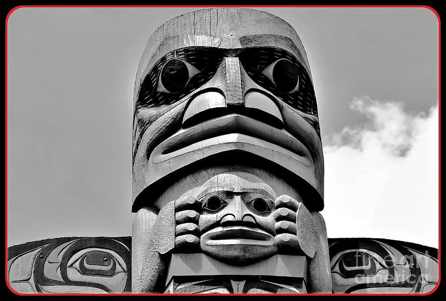Totem Art Of The Northwest In Black And White Photograph