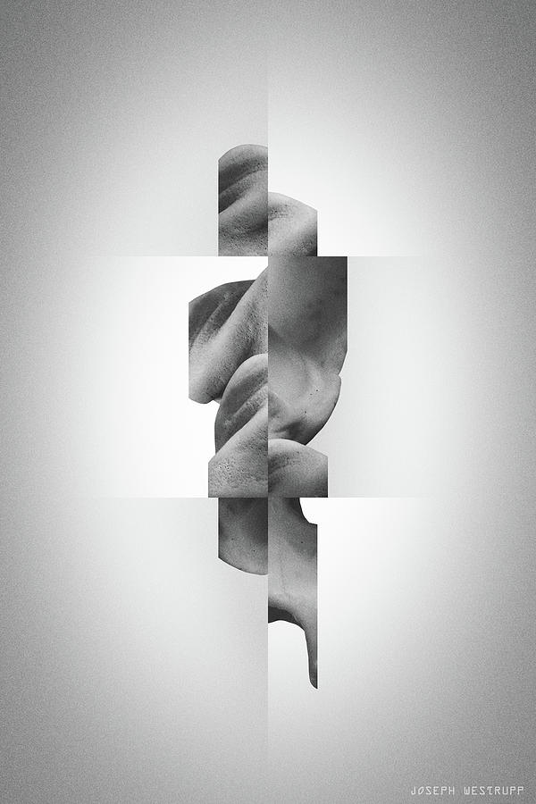 Totem Black - Fractured Surreal Abstract Seashell Collage by Joseph Westrupp