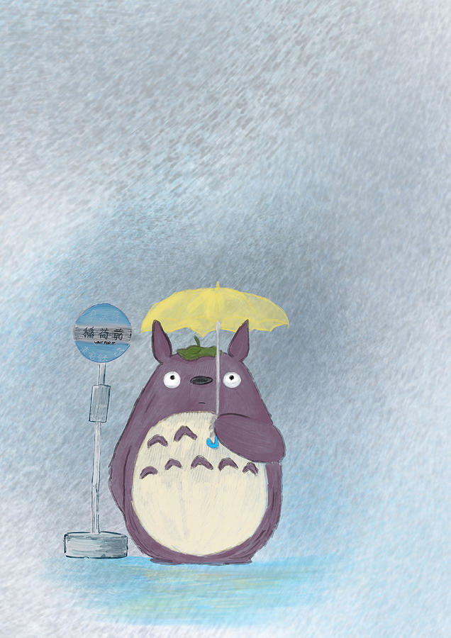 Totoro Yellow Umbrella by Uwaki Art