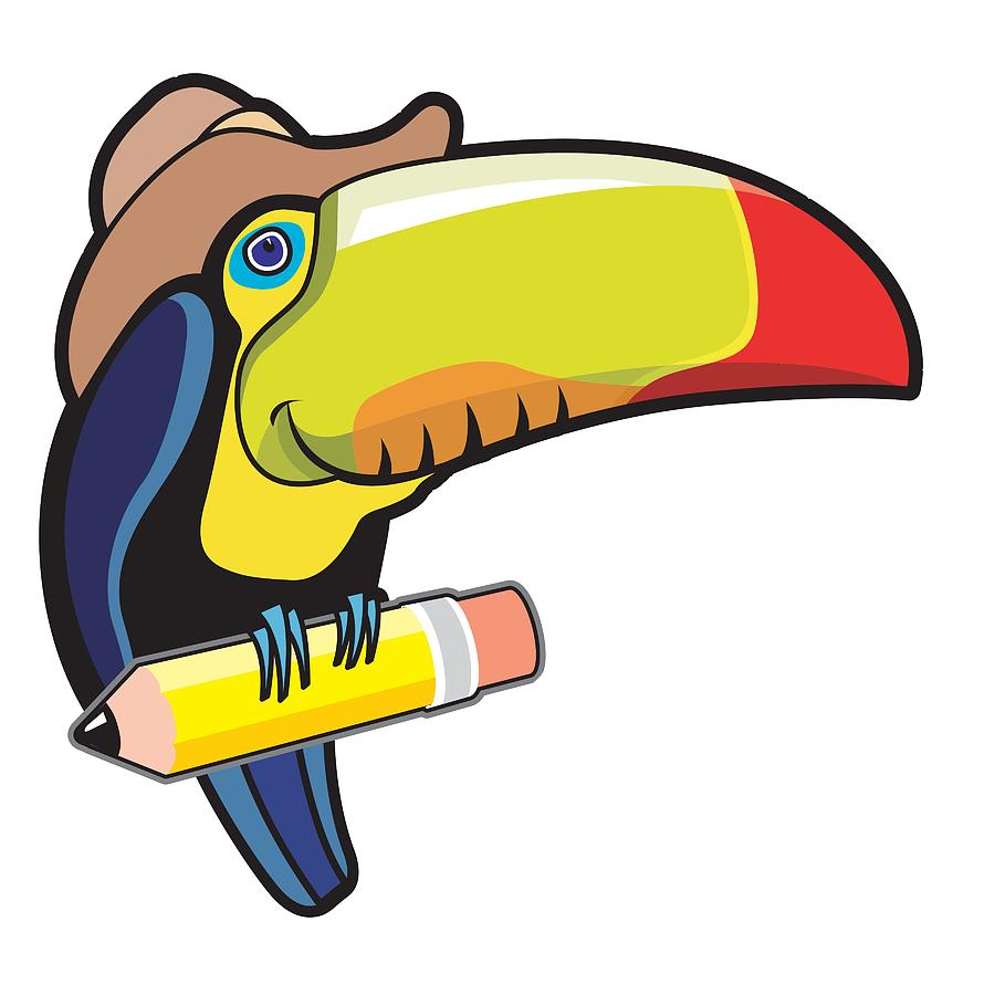 Toucan perched on pencil by Gene Bollig