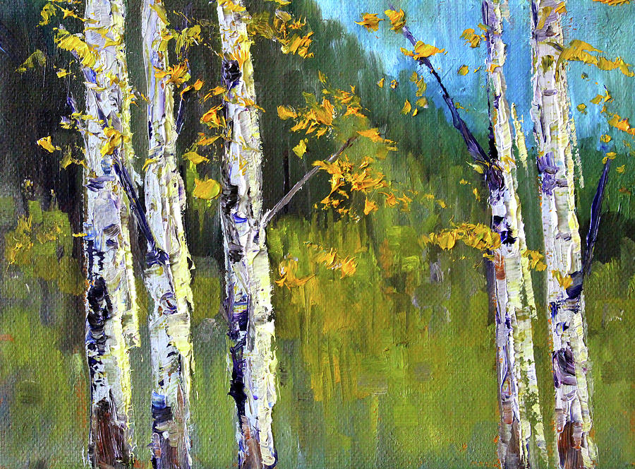 Autumn Birch Trees Painting - Touch Of Fall by Nancy Merkle