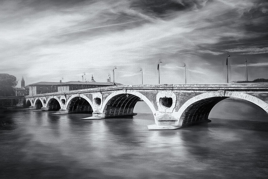 Toulouse France Pont Neuf Black And White Photograph