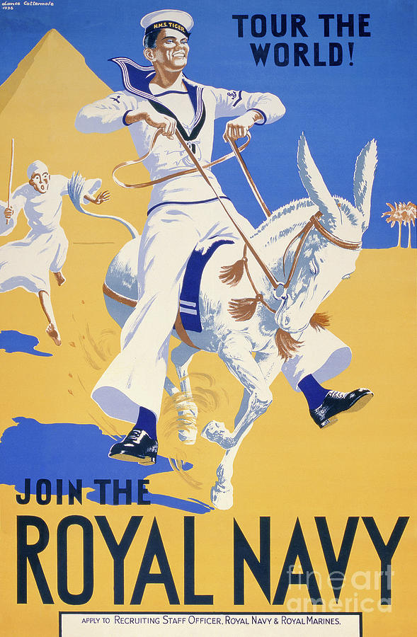 Navy Painting - Tour The World. Join The Royal Navy, Navy Recruitment Poster, 1936 by English School