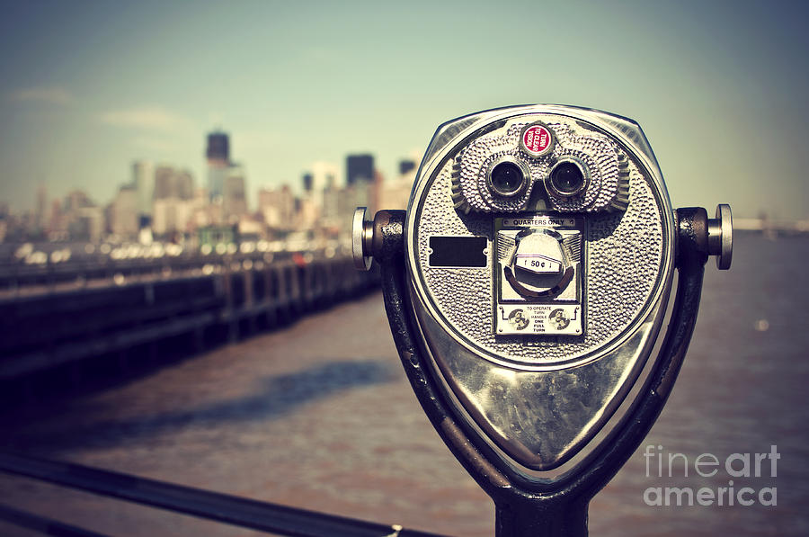 Steel Photograph - Tourist Binoculars At Liberty Island In by Ar Pictures