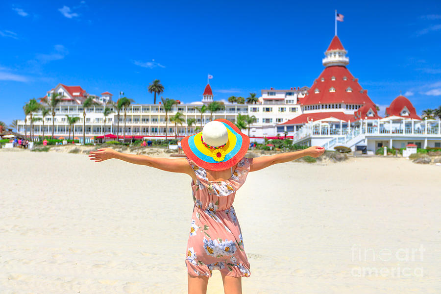 Tourist woman San Diego Beach by Benny Marty