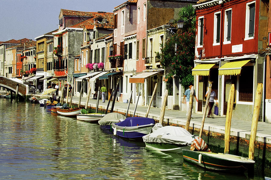 Tourists Along A Canal, Murano, Venice Photograph by Medioimages/photodisc