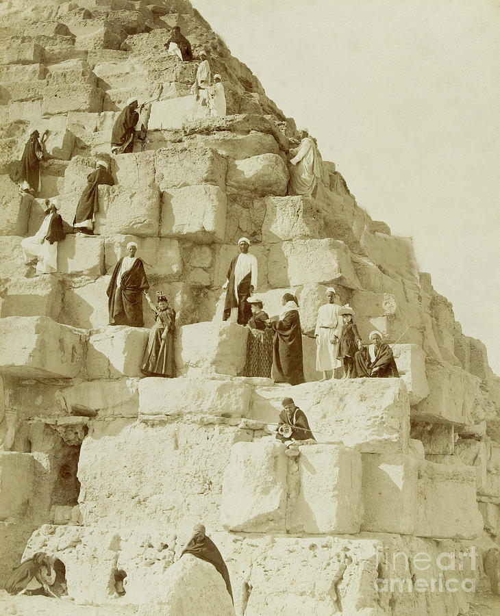 Giza Photograph - Tourists At The Great Pyramid Of Giza, 19th Century by French School