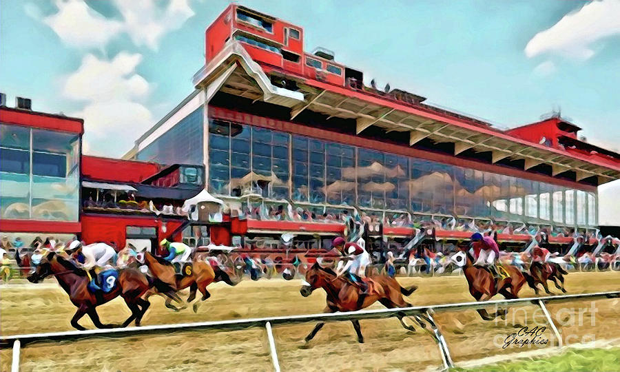 Toward The Finish At Pimlico by CAC Graphics