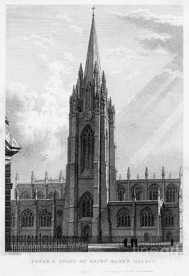 Tower And Spire Of Saint Marys Church Drawing by Print Collector