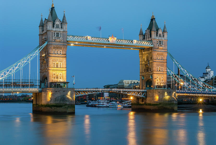 London Photograph - Tower Bridge and the River Thames at night by David Ross